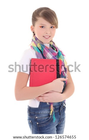 teenage girl with tablet pc over white - stock photo