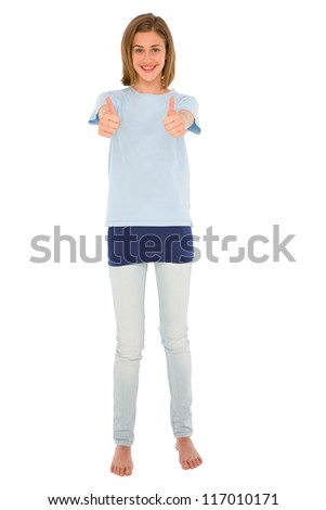 teenage girl with thumbs up - stock photo