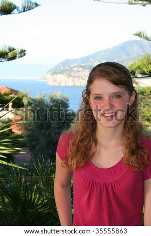 Teenage girl  with tropical background - stock photo