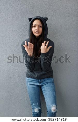 teenage girl wonders how can you - stock photo