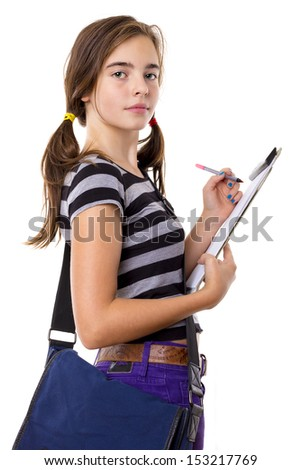 teenage girl writing on a clipboard, isolated on white.