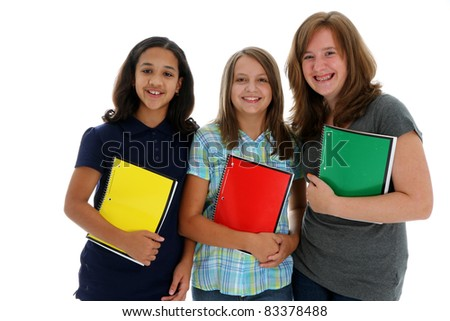 Teenage Girls Ready for School on White Background