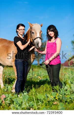Teenage girls standing on a meadow in summer with their horse - stock photo