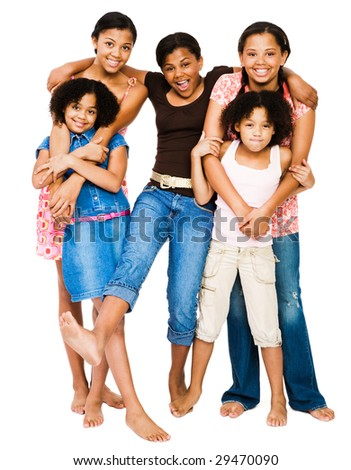 Teenage girls standing with girls and smiling isolated over white - stock photo