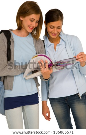 teenage girls with books - stock photo
