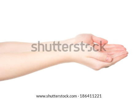 Teenage Giving Hands Isolated On White Background