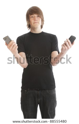 Teenage male youth with cell phone - stock photo