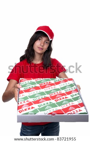 teenage pizza delivery girl on white background - stock photo