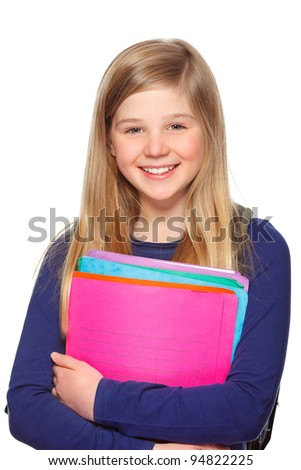 teenage schoolgirl with folders  smiling