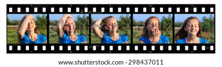 Teenage smiling girl poses on summer nature blur background (films strip)   - stock photo