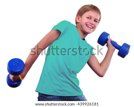 Teenage sportive boy is doing exercises. Sport healthy lifestyle concept. Sporty childhood. Teenager exercising and posing with weights. Isolated over white background. - stock photo