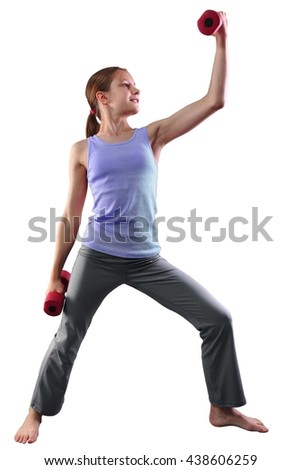 Teenage sportive girl is doing exercises. Sport healthy lifestyle concept. Sporty childhood. Teenager exercising and posing with weights. Isolated over white background. - stock photo