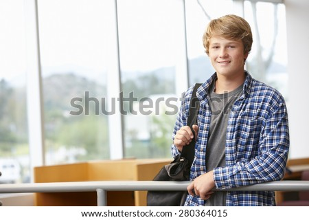 Teenage student boy indoors - stock photo