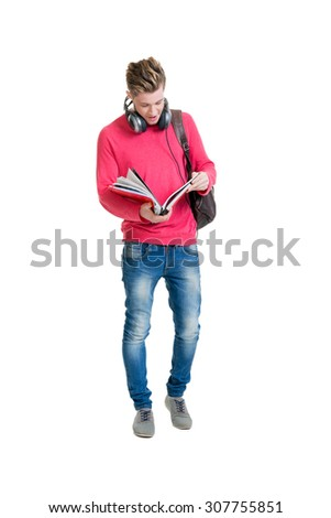 Teenage student  holding bag and books isolated on white - stock photo
