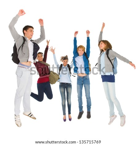teenage students jumping