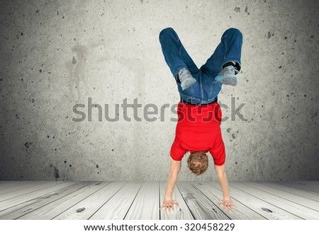 Teenage upside down. - stock photo