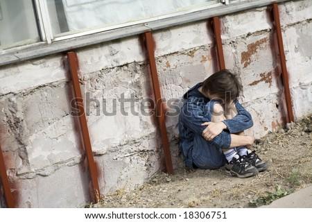 Teenager alone at city - stock photo