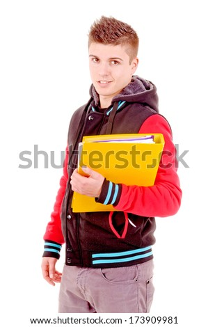 teenager at school isolated in white - stock photo