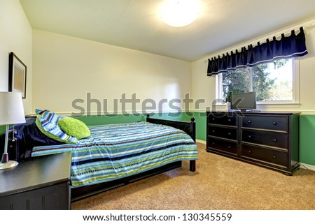 Teenager Bedroom interior with black and green. - stock photo