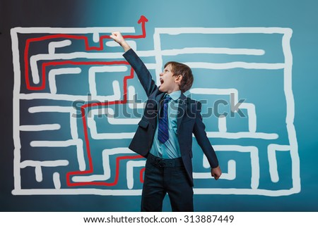 Teenager boy businessman, his arms superhero looking up the idea of the success of the plan pattern of the crisis maze solution studio background