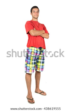 Teenager boy in summer clothes - stock photo