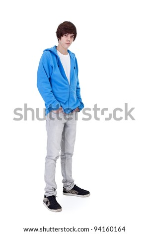 Teenager boy standing - isolated - stock photo