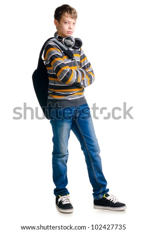 teenager boy wearing casual clothes on white background - stock photo
