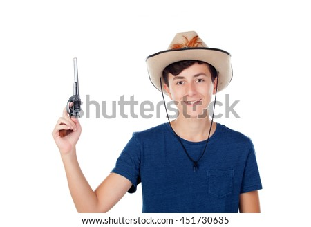 Teenager boy with a cowboy hat and a gun isolated on white background - stock photo