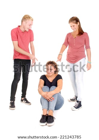 teenager bullying another classmate isolated in white - stock photo