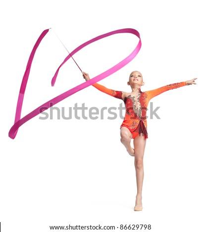 teenager doing gymnastics dance with ribbon - stock photo