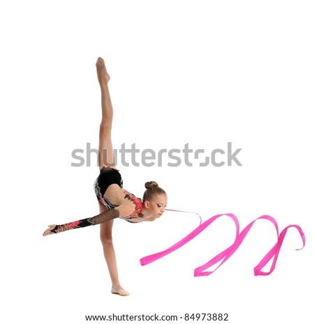 teenager doing gymnastics split with ribbon - stock photo