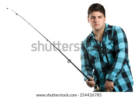 Teenager fishing.  Isolated over white in studio with plenty of copy space. - stock photo