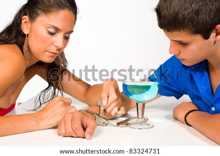 Teenager getting unchained from his addiction to alcohol - stock photo