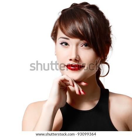 teenager girl beautiful cheerful enjoying isolated on white background - stock photo