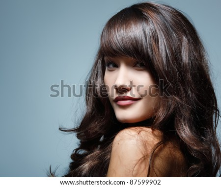 teenager girl beautiful hair cheerful enjoying isolated - stock photo