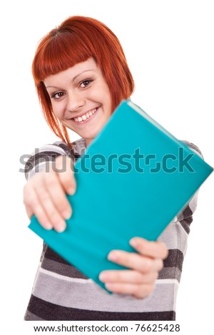 teenager girl giving book, isolate on white background