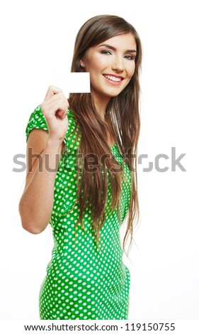Teenager girl hold white blank paper card. Young smiling woman show blank board. - stock photo