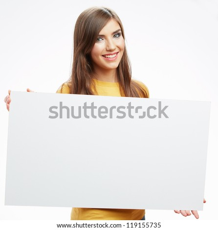 Teenager girl hold white blank paper. Young smiling woman show blank card. Girl with long hair portrait isolated on white background. - stock photo