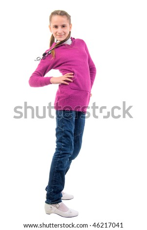 Teenager Girl In Purple. On The Movie. Studio Shoot Over White Background. - stock photo