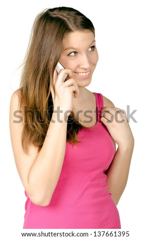 Teenager Girl (19) On Cell Phone Isolated on a White Background - stock photo