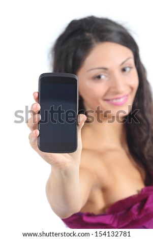 Teenager girl showing a smart phone display isolated on a white background - stock photo