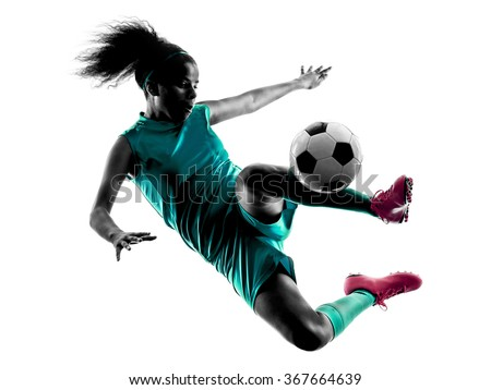 teenager girl soccer player isolated silhouette - stock photo