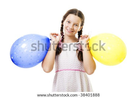 Teenager girl standing with two balloons and smile at her birthday,isolated on white - stock photo