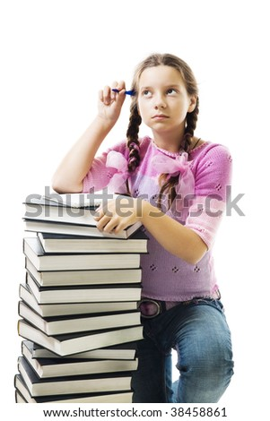 Teenager girl think about homework, standing close to stack of books, isolated on white - stock photo