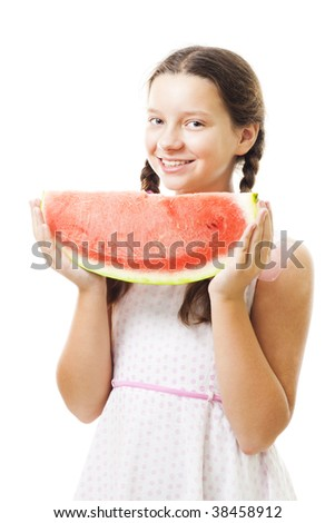 Teenager girl with piece of watermelon,stand and smile,isolated on white - stock photo