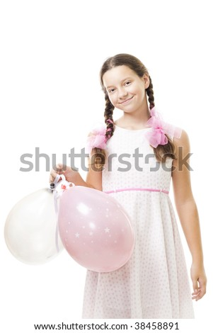 teenager girl with pink balloons in dress,isolated - stock photo