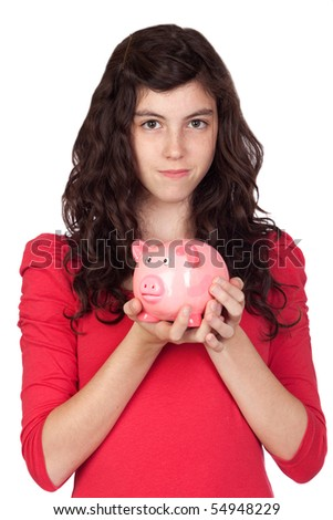 Teenager girl with pink piggy-bank isolated on white background