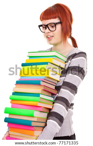 teenager girl with stack color books,  isolated on white