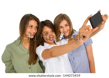 teenager girls with smartphone - stock photo