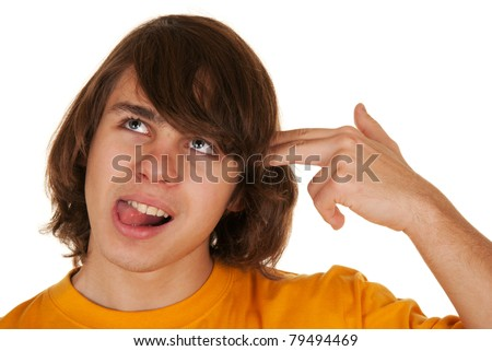 Teenager has put hand fingers to head on white background